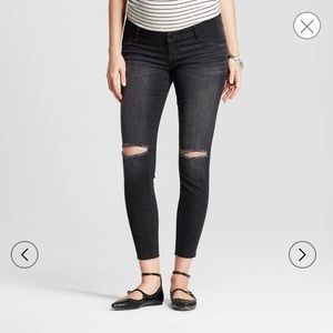 Maternity Side Panel Distressed Jeans